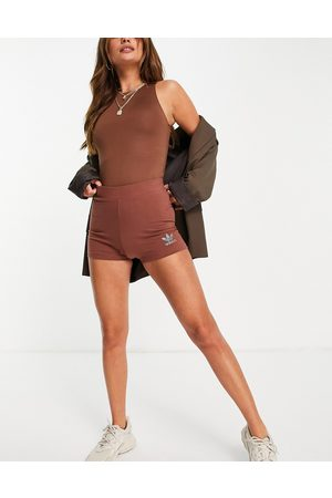 adidas 2000s Luxe' booty short in brown with diamante logo