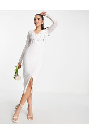 Frock and Frill Bridal embellished fitted midi dress in white
