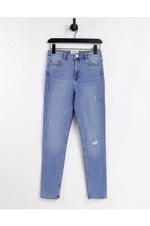 Miss Selfridge Lizzie high waist authentic ripped skinny jean in midwash blue