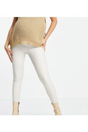 ASOS ASOS DESIGN Maternity over the bump band leather look leggings in stone-Neutral