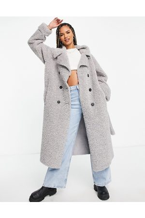ASOS Bonded shearling trench coat in grey