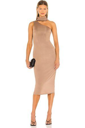 NBD Kristiana Midi Dress in - Brown. Size L (also in XXS, XS, S, M, XL).