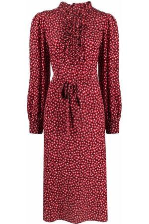 P.A.R.O.S.H. Ruffled-detail floral-print silk midi dress