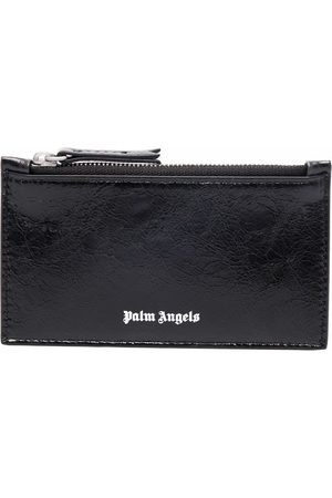 Palm Angels Crinkle-texture zipped cardholder