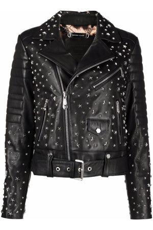 Philipp Plein Star-studded biker jacket