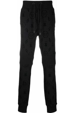 Philipp Plein Herren Jogginghosen - Flocked monogram track trousers