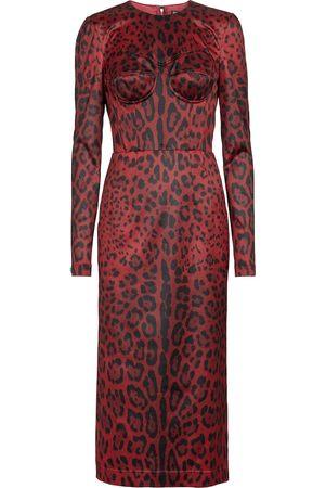 Dolce & Gabbana Damen Bedruckte Kleider - Bedrucktes Midikleid aus Satin