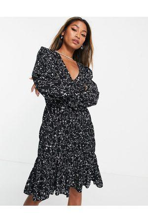 Object Jalke Gila printed mini dress in black