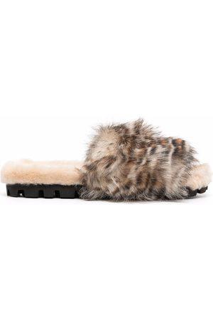 Miu Miu Leopard-print shearling slippers