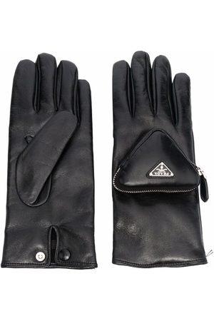 Prada Herren Handschuhe - Triangle logo pouch-detail gloves