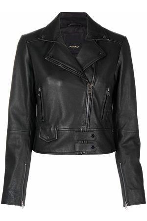 Pinko Logo-embossed cropped leather jacket
