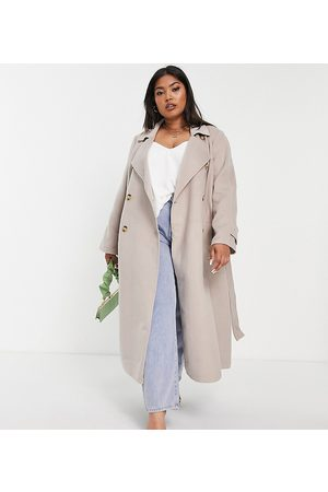 Forever New Curve Belted trench coat with tortoise shell buttons in stone-Brown