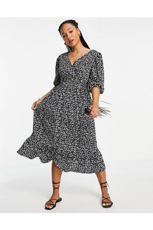 Miss Selfridge Jersey wrap midi dress in ditsy print-Black