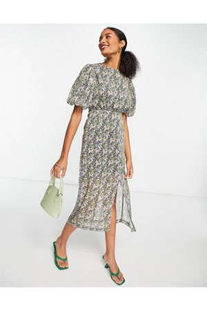 Ghospell Midi dress with back detail in ditsy floral-Blue