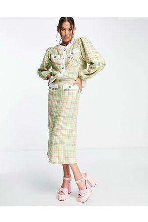 sister jane Tweed check midi skirt co-ord-Pink
