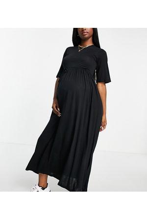 River Island Maternity Tie waist midi dress in black
