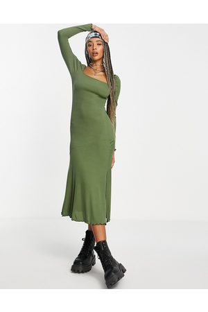Topshop Square neck jersey midi dress in olive-Green
