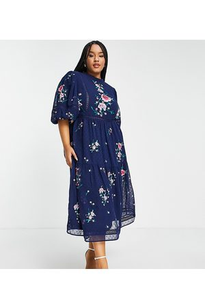ASOS Curve ASOS DESIGN Curve high neck dobby embroidered midi dress with lace trims in navy