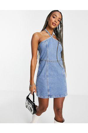 Topshop Halterneck denim dress in mid blue