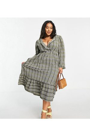 ASOS Curve ASOS DESIGN Curve midi smock dress with frill neck and tiered hem in grey and green check print