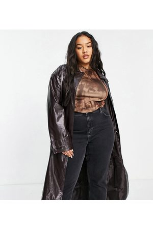 ASOS Curve ASOS DESIGN Curve crinkle faux leather trench coat in oxblood-Red