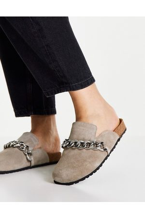 ASOS DESIGN Molly suede mule with silver hardware in taupe-Neutral