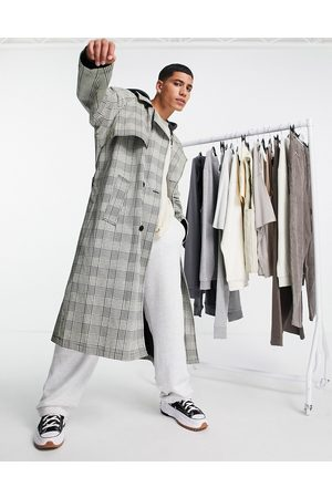 ASOS DESIGN Oversized trench coat in grey check with hood