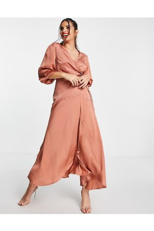 Liquorish Midi wrap dress with balloon sleeves in light brown
