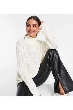Threadbare Tall Valeria stitch detail high neck jumper in white