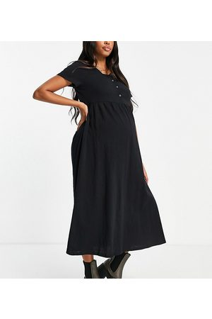Cotton:On Maternity Short sleeve babydoll midi dress in black