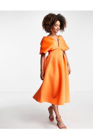 ASOS DESIGN Off shoulder deep V draped sleeve midi skater dress in