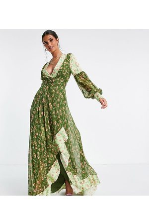ASOS Tall ASOS DESIGN Tall Maxi dress in mixed ditsy print with self belt in green ditsy