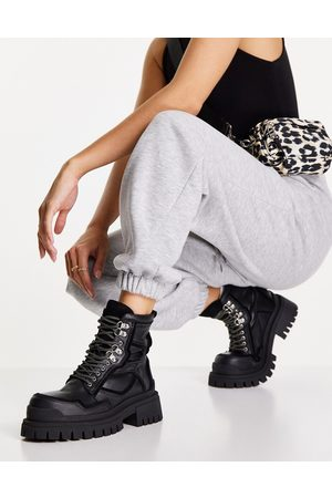 Topshop Alex leather chunky lace up boot in black