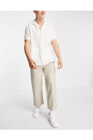 Topman Wide leg crop twill trousers in ecru-White