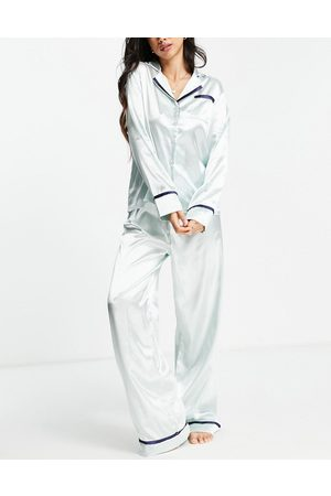 NIGHT Revere collar satin pyjama shirt and trousers set in pistachio green and navy piping