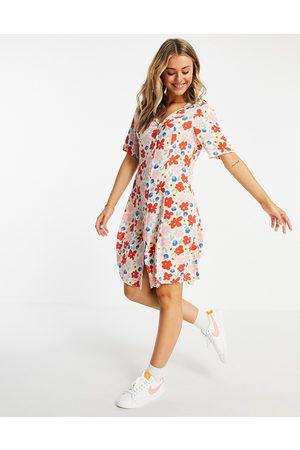 Monki Winona mini smock dress with button through in floral print-Multi