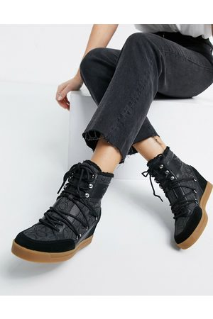 Calvin Klein Fiorenza lace up boots in black