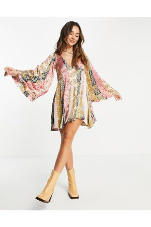 ASOS DESIGN 70s mix print mini smock dress with godets and flared sleeves-Multi