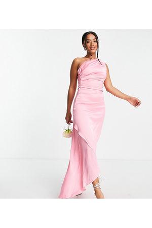 TFNC Petite Bridesmaid one shoulder maxi dress in bubblegum pink