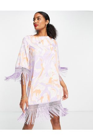 River Island Printed shift dress with fringing in pink