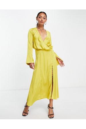 ASOS DESIGN Bias cut drape midi dress with button detail in mustard-Yellow