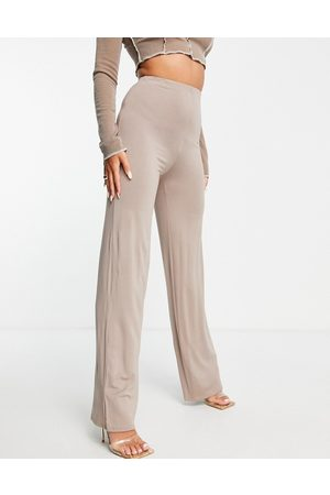 Flounce London Basic high waisted wide leg trousers in light brown