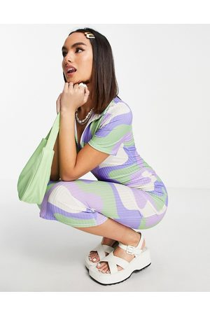 ASOS DESIGN Ribbed short sleeve collared midi dress in green and blue swirl print-Multi