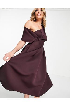 ASOS DESIGN Bare shoulder prom midi dress in aubergine-Purple