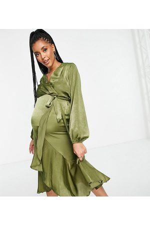 Flounce London Maternity Satin wrap front midi dress in olive green