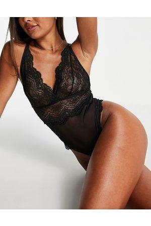Hunkemoller Chiara plunge front lace bodysuit in black