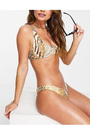 Kulani Kinis Zuri underwire bikini top in multi animal print