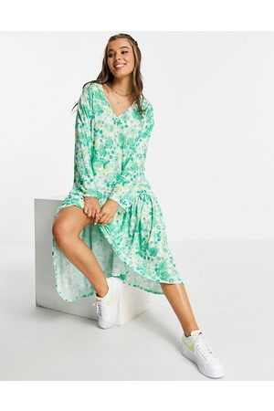 ASOS DESIGN V neck long sleeve frill detail midi dress in 70s green floral print