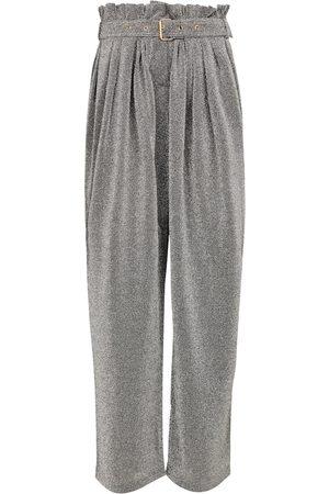 Balmain Damen Weite Hosen - Hose aus Lamé