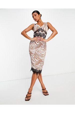 Liquorish Midi dress with lace inserts in zebra print-Multi